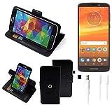K-S-Trade® Case Schutz Hülle für Motorola Moto E5 Plus Dual-SIM + Earphones Handyhülle Flipcase Smartphone Cover Handy Schutz Tasche Walletcase schwarz (1x)