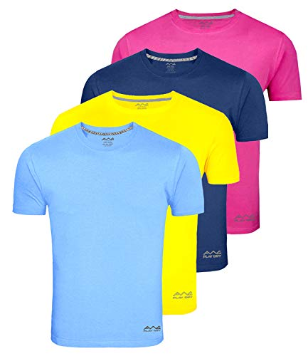 Awg - All Weather Gear Men's Dryfit Polyester Round Neck Half Sleeve Combo Of 4 T-Shirts ( Navy Blue/Dark Grey/White/Sky Blue, X-Large)