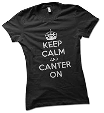 Keep Calm and Canter On Ladies T-Shirt Black Small 8 - 10
