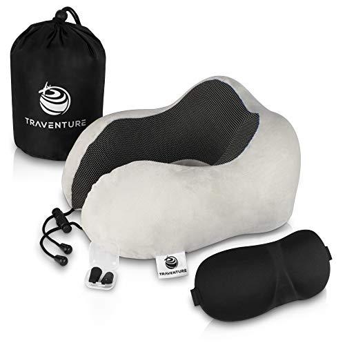 Traventure Reisekissen Set - Ergonomisches Nackenkissen für Absolute Entspannung auf Langen Reisen - inklusive Schlafmaske, Ohrstöpsel & Aufbewahrungstasche - travel Neck Pillow | Nackenhörnchen
