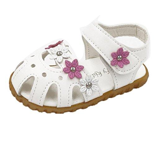 Transer ® Enfants mignons fille fleur sandale anti-dérapant chaussures à semelle souple (21, Blanc)
