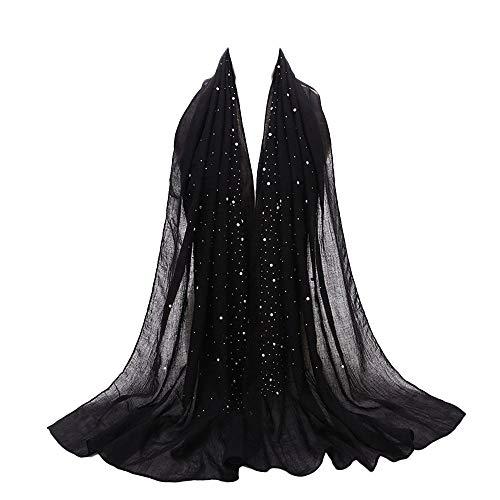 tücher, BaZhaHei Damenmode Chiffon-Schal moslemischer weicher Wickel-Langer Schal Eleganter Sommer-Schal für Frauen Halstuch und Chiffon-Stola stilvolles Muster ()