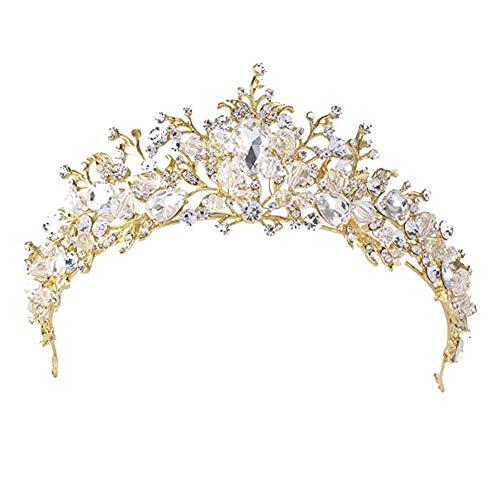 Fablcrew Strass Diadem Hochzeit Diadem Braut Brautjungfern Strass Kronen Stirnband Damen Schließe Haarspange Pin Haarspange 1 Stück Size 5 * 14.7cm (Gold)