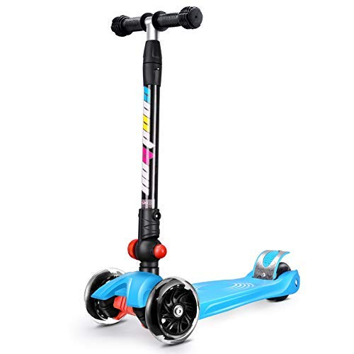 Double Beauty D.B Kinderscooter Dreiräder Kinderroller Roller Scooter LED Blinken für Kinder ab 3 Jahren,in 4 Höhen verstellbar,bis 55kg belastbar, mit PU Rädern (Blau)