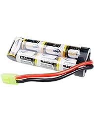 Keenstone 8.4V 1600mAh NiMH paquete plano de la batería con el mini conectador femenino de Tamiya montado con el alambre 16G
