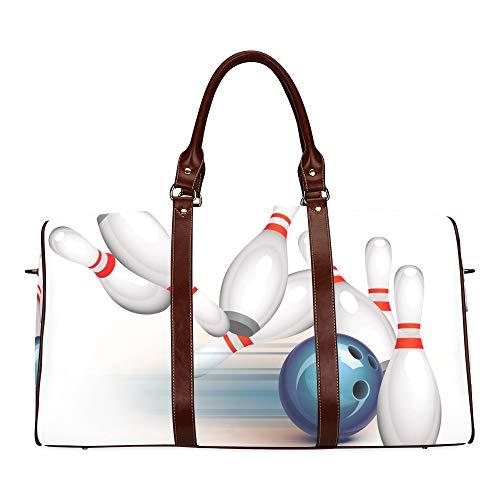 Reise-Seesack Zusammenfassung Bowlingkugel trifft alle Wasserdichten Weekender Bag Overnight Carryon Handtasche Frauen-Damen-Einkaufstasche mit Mikrofaser-Leder-Gepäcktasche