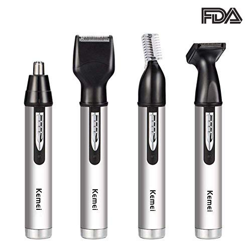 Electric Nose and Ear Hair Trimmer Kit, Portable 4 in 1 Men Facial Care Tool,Washable Mens Nose Shaver, Dry Wet Dual Use. (4 in 1)