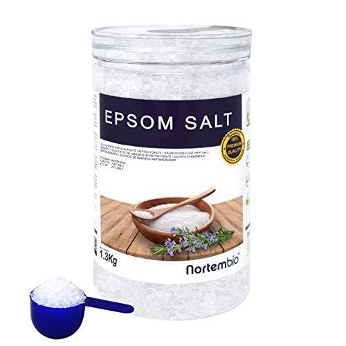 Epsom Salz NortemBio 1,3 Kg. Konzentrierte Magnesiumquelle, 100% Natürliches Salz. Bad und Körperpflege. E-Book Inklusiv.