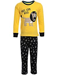 Lazy Shark Winter Wear for Kids/Boys - Yellow Night wear - Track Suits - Pyjama Tshirt - Warm Cotton Fabric - Animal Printed - Full Sleeve - for 1/2/3/4/5/6/7 Year Boys - Track Pant and Tshirt.