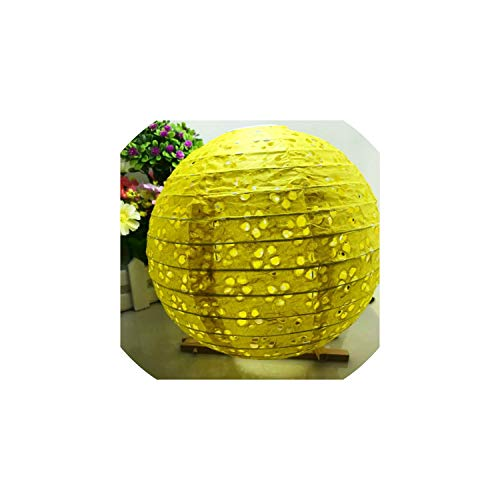 Papierlaterne 10''25Cm aushöhlen Papier Ballon Runde Papierlaterne Kugel für Festival Dekoration-Partei-Bevorzugung, Gelb, 8Inch 20Cm Hohl