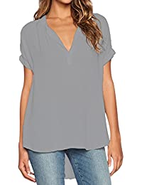 ISSHE Blusas de Vestir Manga Corta Cuello en V Blusa Gasa Fiesta Camisas Mujer Camisetas Largas