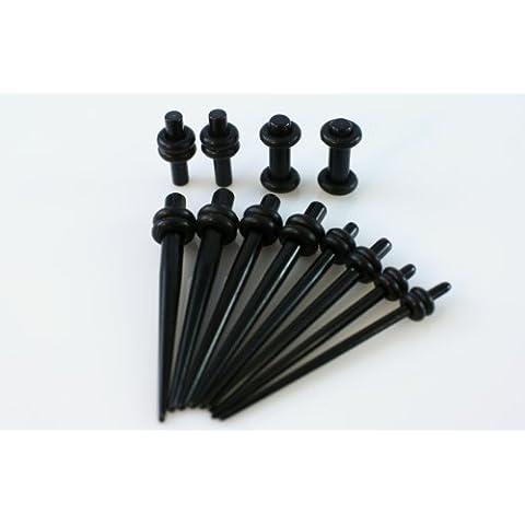 Medidor de Micro cónica y conjunto enchufe - 8 pc negro forma cónica del oído 1.6mm-3mm y 4 pc negro enchufe Kit ampliador 2.6mm-3mm medidores de acrílico
