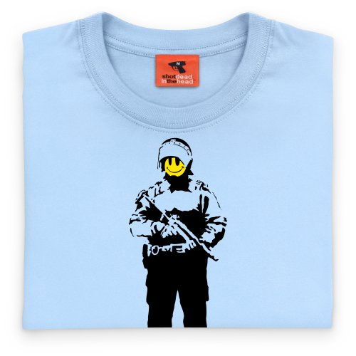 Banksy Smiley Cop T-Shirt, Damen Himmelblau