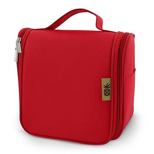 Beauty Case Viaggio da appendere per prodotti cosmetici e make-up per uomini e donne + 1L Beauty Case Trasparente per viaggi in aereo (8 bottiglie da viaggio) Gancio per porta | Rosso