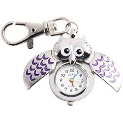 YESURPRISE Silver Pendant Pocket Key Ring Cool Purple Owl Quartz Watch