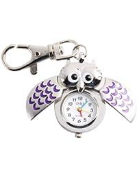 Yesurprise Schlüsselring Uhr Silbrig Lila Eule Anhänger Quarz Uhr Taschenuhr Kinder Uhr key watch