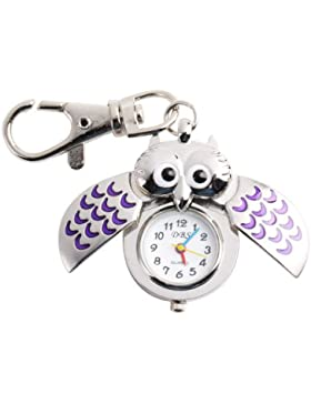 UNIQUEBELLA Eulen Schlüssel Anhänger Eule Uhr BlauTaschen Uhr Schlüsselanhänger silber Uhr Geschenk Xmas Gift...
