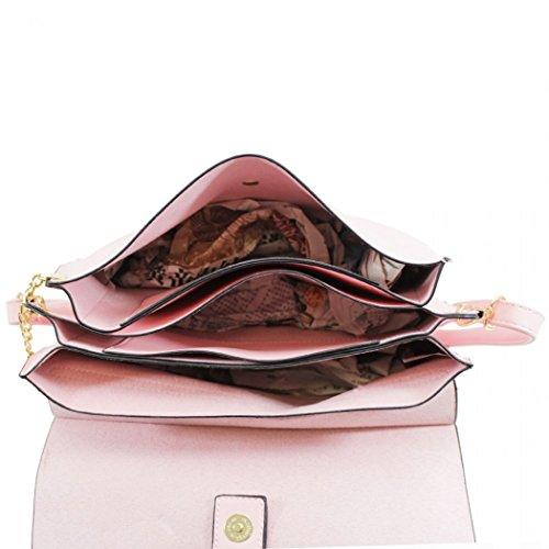LeahWard® Damen Faux Leder Kreuz Körper Taschen Nizza Kettenring Detail Nette Handtaschen Schultertaschen CW1046 (Braun (37x9x20cm)) Mittel Rose (27x5x19cm)