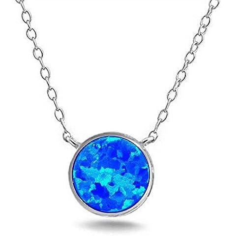 Timando Collane argento 925 impreziositi da zirconi crystal quarzo blu (Quarzo Verde)
