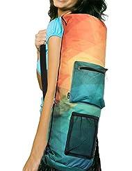 RoryTory Yoga Mat Bag Carrier w/bolsillos–se adapta a la mayoría Tamaños de alfombrilla (varios colores), Orange/Green Polygonal