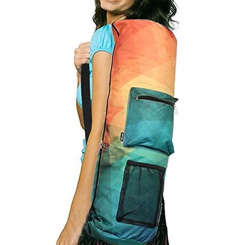 rorytory Yoga Mat Bag Carrier W/Taschen, passend für die meisten Matte Größen (verschiedene Farben) Größe L Orange/Green Polygonal
