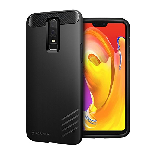 KAPAVER® OnePlus 6 Case Premium Tough Rugged Solid Black Shock Proof Slim Armor Back Cover Case for One Plus 6