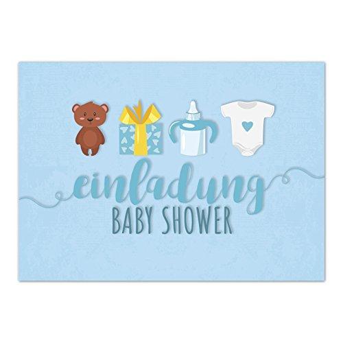 hower Party/Einladungskarten mit Umschlag im Set/Motiv: Süße Motive - blau - Junge/Babyparty Karte/Postkarte/ ()