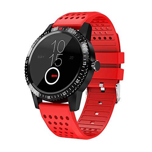 QHJ Smartwatch,Wasserdicht Fitness Tracker Sport Uhr Fitness Uhr mit Schrittzähler,Schlaf-Monitor,Stoppuhr,Call SMS Benachrichtigung Push (rot)