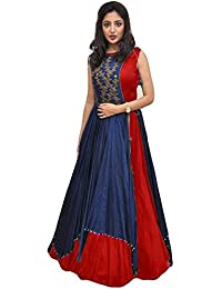 Shree Women's Silk Unstitched Lehenga Choli (SRENT009_Multi-Coloured_Free Size)