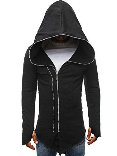 OZONEE Herren Sportjacke Sweatshirt Assanin's Hoodie Sweatjacke Kapuzenpullover J. STYLE 2036-10 SCHWARZ S
