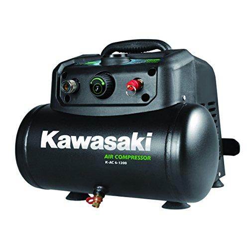 Kawasaki Kompressor, Luftkompressor, 1200W, Ölfreier Motor, 8 Bar, 6 Liter Tank, tragbar, 180 l/min - Mit Kupplung Kompressor Ac