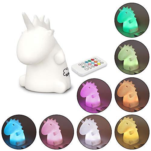 KUNGYO Einhorn Nachtlicht - LED Silikon Kinderzimmer Nacht Lampe für Kinder Baby Stillen Fernbedienung USB Aufladbar Atmen Schlafen Licht Tippen Sie auf Sensor Ändern von 9 Farben -