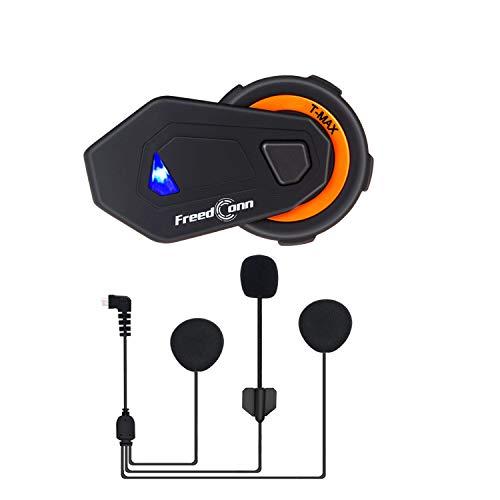 FreedConn Motorrad Kommunikation System, T-Max Helm Bluetooth Headset Voll Duplex Walkie Talkie für 6 Fahrer Gruppe Intercom Motorrad Ski Fahren (1500m, Wasserdicht, FM Radio, Voice Prompt, 1 Stück)