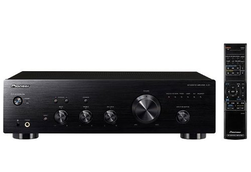 Pioneer A-20-K - Amplificador (50 W, mando a distancia, entrada de audio MM) color negro