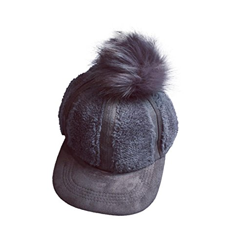 Kingko® Sheep Velvet Fluff Ball Casquette de Baseball Femmes Snapback Hip Hop Flat Hat Gris