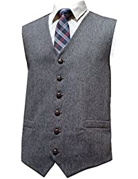 Lloyd Attree & Smith Classic Wool Handle Grey Donegal Style Tweed Waistcoat