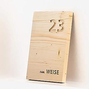 Hausnummer Holz mit personalisierter Gravur in 20x30cm, Haustürschild Holz Fichte, Türschild Holz, Namensschild Holz, Holzschild Namen