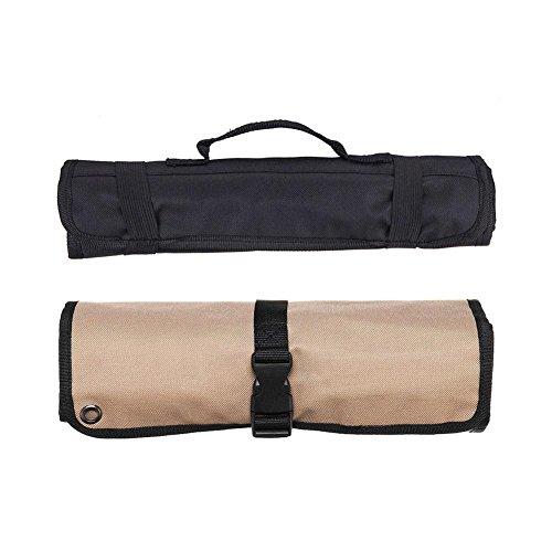 Yves25Tate Neue Küchen Chef Messertasche Reparatur Rolle Tasche Portable Küchenutensilien Lagerung Tragekoffer,Messer-Tasche aus Stoff zum Zusammenrollen, mit Gurt Kaffee-10 Taschen (Köche Für Messer-rolle)