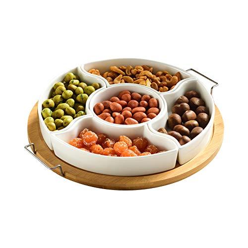 Scalloped Square Tray (Dekorative White Ceramic Appetizer Serving Platter Tray mit Lebensmittelpickern und Holz-Holder 9,4 Zoll Porzellan Divided Trays/Square Platters Scalloped Rim White)