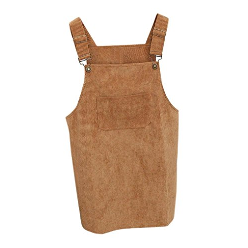 Kanpola Kleider Damen Herbst Cord Straps kurze Tasche gerade Weste Rock Kleid (Seide Plissee-baumwolle & Tunika)