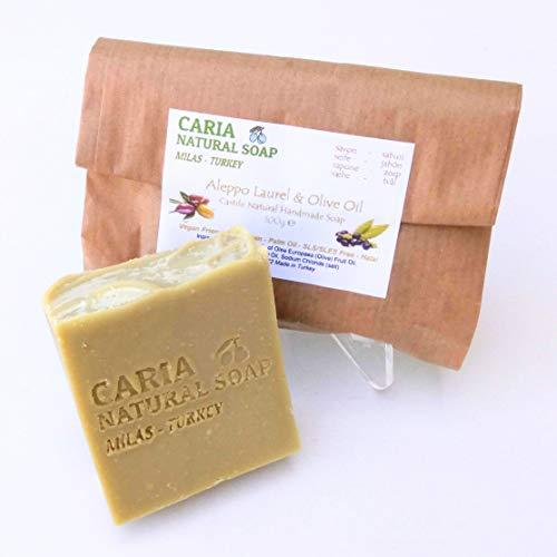 Caria Natural Aleppo Laurel und Olivenöl Seifenstück handgefertigt in der Türkei 100g (1 bar) -