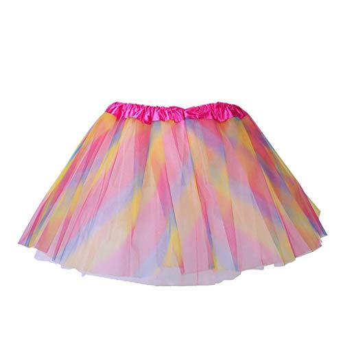 chenpaif Kleinkind Mädchen Balletttanz Mini Tutu Rock DREI Schichten regenbogenfarbenen Streifen Princess Satin Bund Tüll Pettiskirt 2-10T
