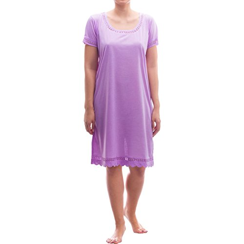 LUCKY kurzarm Nachthemd Schlafshirt mit Spitze, Größe:M;Farbe:Flieder