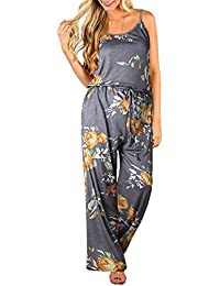 3391e8ba1f7 ECOWISH Womens Jumpsuits Summer Floral Printed Spaghetti Strap Sleeveless  Casual Jumpsuit Rompers