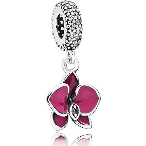 Pandora Damen-Charm Orchidee 925 Silber Emaille Zirkonia weiß – 791554EN69