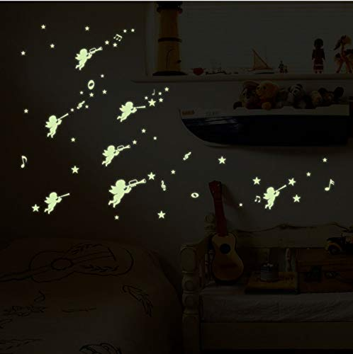 XQWZM Sticker Angel Glow In The Dark Stickers Fluorescent Home Decor for Kids Room House Wall Decal Children