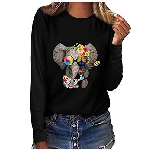Fenverk Pullover Damen Sweatshirt Damen Herbstjacke Damen Damne Oberteile Mit Leopardmuster Casual Langarm T-Shirt O-Ausschnitt Hemd Mode Basic Tee Herbst Winter(D Schwarz,XL)