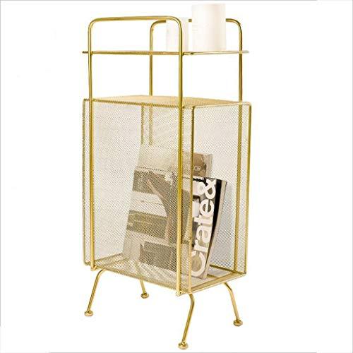XIAOLVSHANGHANG CJ Multifunktionale Sofa Beistelltisch, Metall Couchtisch Wohnzimmer Regal Magazin Rack Lagertisch Gartentisch Im Freien (Farbe : Gold)