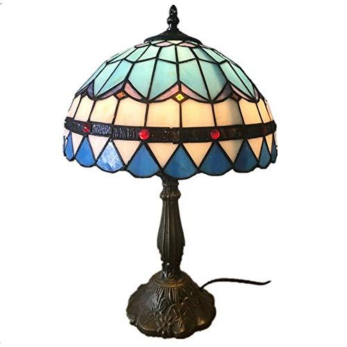 Y&HY Tiffany Stil handgemachte Tischlampe, einfache Glas Lampenschirm Leselampen Cafe Bar Schreibtisch Lichter (12 Zoll)