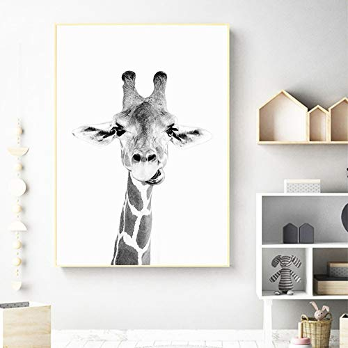 Tiere Poster Giraffe Wall Kunstdruck Leinwand Gemälde Zoo Dekoration Spaß Tierisches Schwarz Und Weiß Fotografie Bild, 30 * 40 cm Ohne Rahmen ()